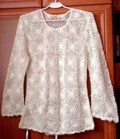 Biały ecru Sweter ażurowy, uniwersalny, oversize, 38, 40, 42, XXL