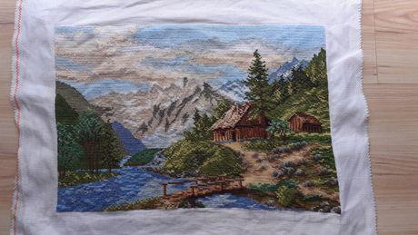 Obraz haftowany górski domek