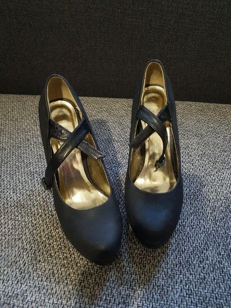 buty na obcasie czarne szpilki platforma rozm 39