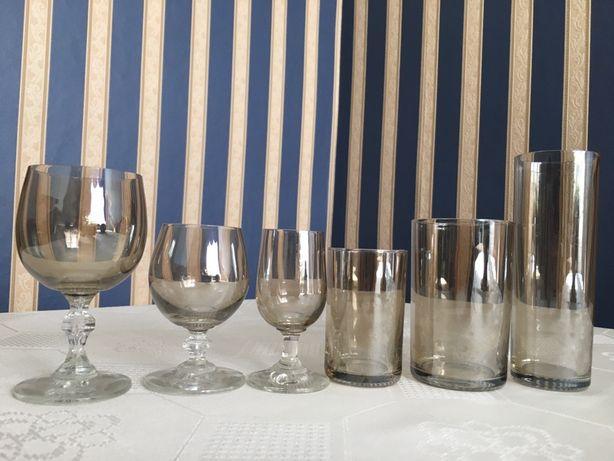 Zestaw 36 szt. szklanki, literatki kieliszki dymione szklo nowe