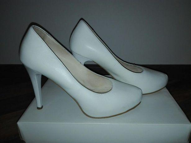 Ślubne białe buty, skórzane, rozmiar 36 La Boda