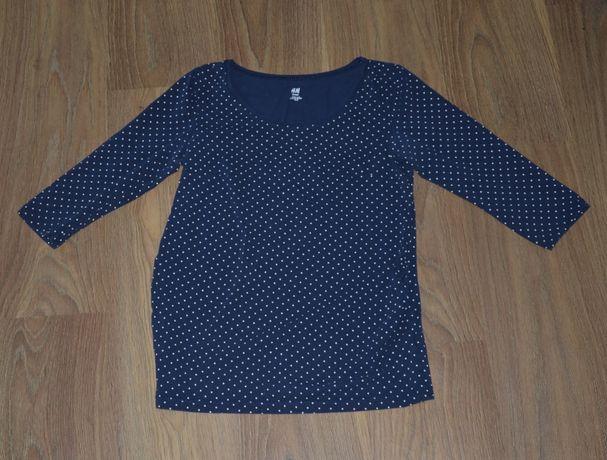 Bluzka koszulka tiszert ciążowa H&M MAMA 38 M w grochy, kropki