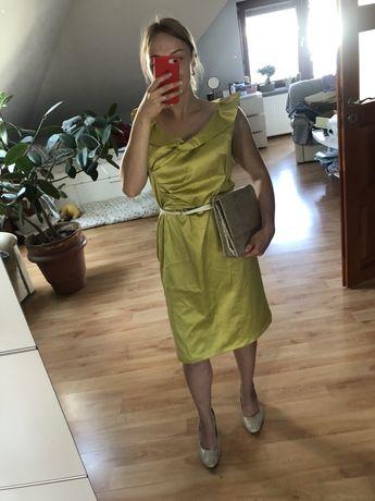 Żółta limonkowa sukienka wesele 40/42 midi