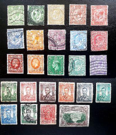 Старинные почтовые марки Южной Родезии и Англии