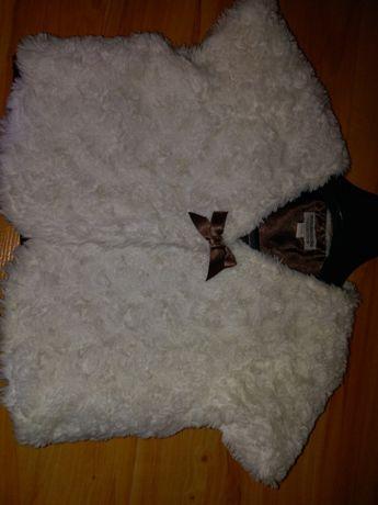 Kamizelka futrzana biała dla dziewczynki. 5-6 lat