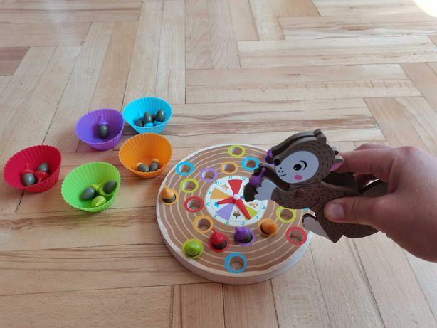 Nowa drewniana gra zręcznościowa wiewiórka montessori klocki sorter