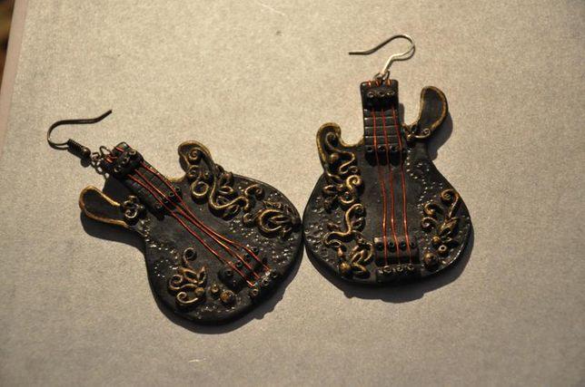 Серьги гитара ручная работа крупные дерево оригинальные