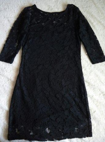 Платье черное гипюр