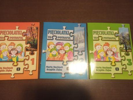 Książeczki edukacyjne dla dziecka 5- letniego; pakiet 3 nowych książek