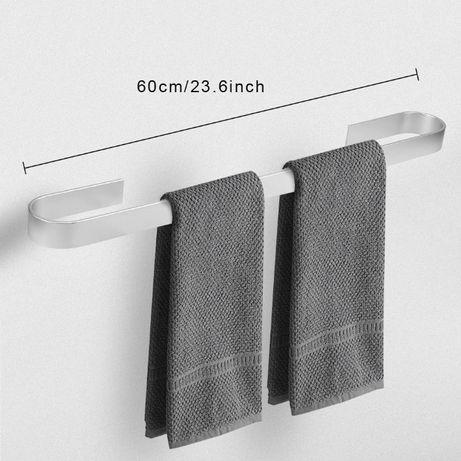 Toalheiros WC prateado/preto, novos, fixação sem parafusos