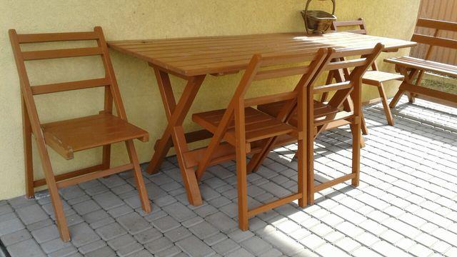 Мебель для сада на террасу,стол,4 стула ,скамейки 2 шт, дерево