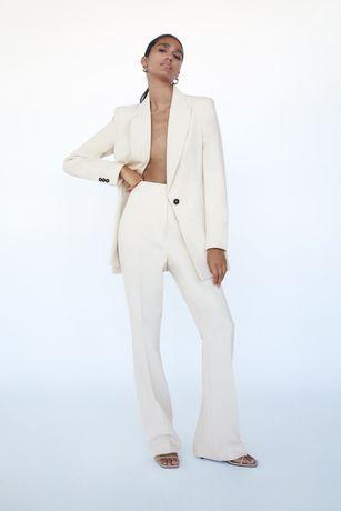 Zara eleganckie luźne spodnie z wysokim stanem XS 34