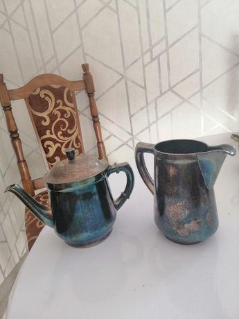 Посеребренный сервиз 20х годов чайник и молочник