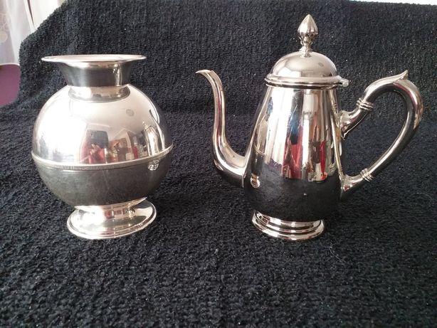 Czajniczek, dzbanuszek 0,5l i wazon metalowy