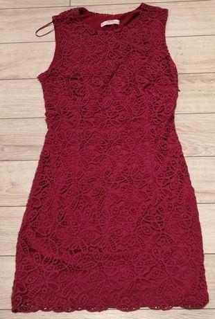Koronkowa Sukienka Mango - różowa - Rozmiar S - TANIO I MODNIE