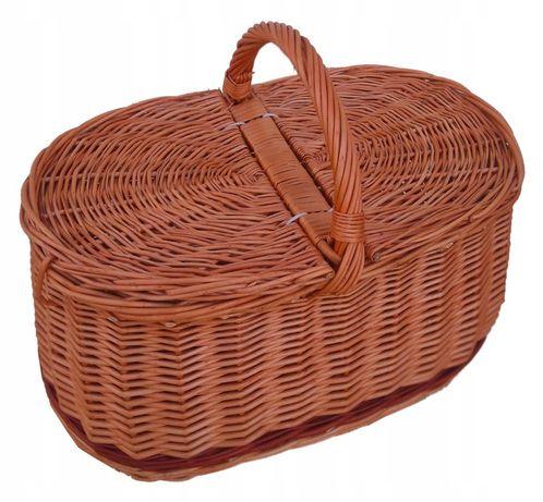 Kosz na piknik, zakupy, bagażowy, naturalny (pas brązowy dół)