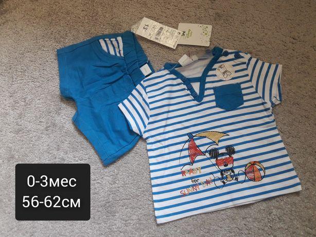Новый летний костюм на мальчика 0-3мес Kiabi футболка шорты