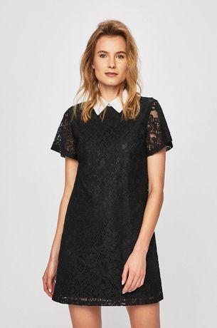 ANSWEAR Sukienka z kołnierzykiem 36 S koronkowa czarna