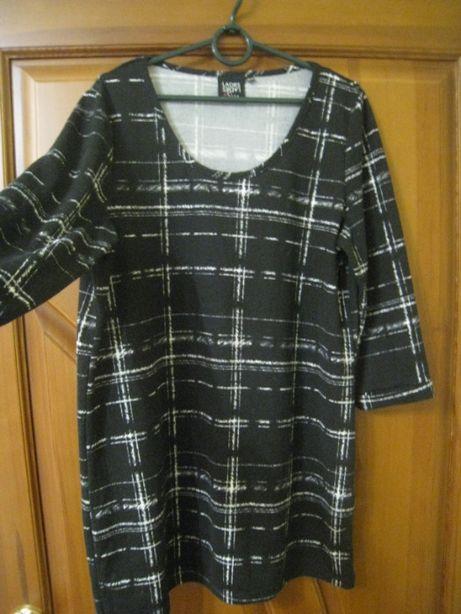 удлиненная трикотажная кофта блуза туника с рукавом 3/4, р.52