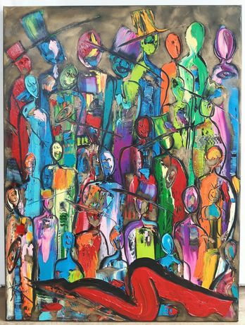 LUDZIE abstrakcja obraz olejny 60x80 KatarzynaArt