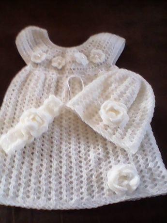 sukieneczka szydełkowa+czapeczka +opaska