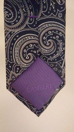 Czarny krawat Lambert z szaro-białym motywem paisley, jedwabny