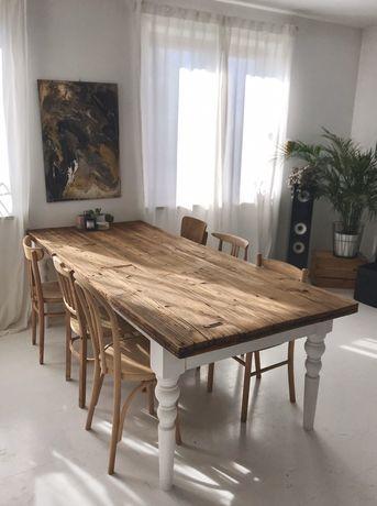 Stół stare drewno na podstawie prowansalskiej retro vintage loft desig