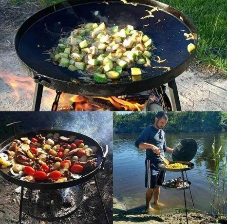 Сковорода из диска бороны для пикника Мангал + Крышка + Подставка
