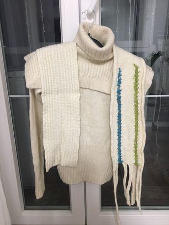 Свитер + шарф , горло с отворотом
