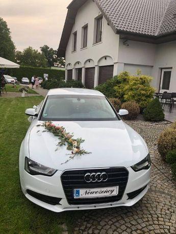 Auto samochód do ślubu,białe AUDI A5 jasny środek 400zł ! Wynajem ŚLUB