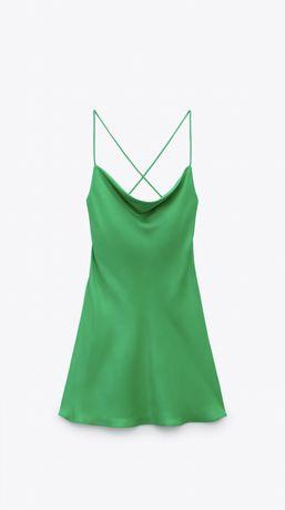 Vestido verde acetinado