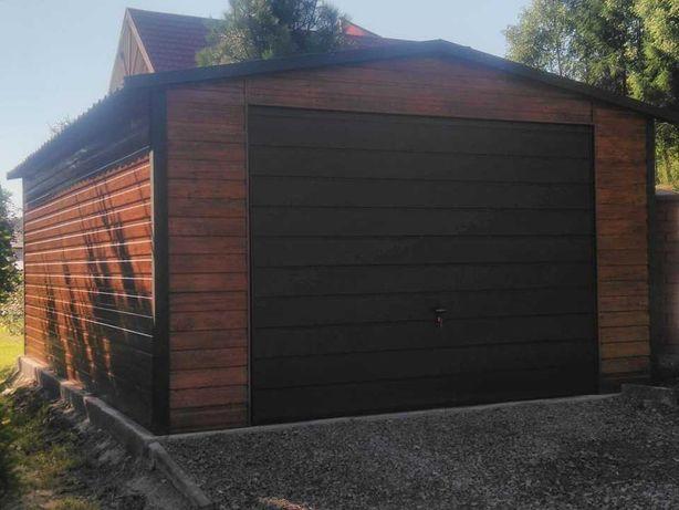 Garaż blaszany Garaż imitujący drewno