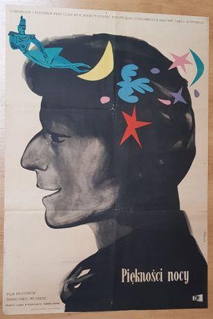 Piękności nocy, Jan Lenica, 1955, Oryginalny plakat filmowy, PRL, kino