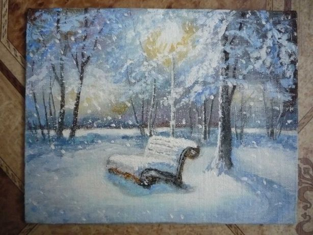 """Небольшая картина """"Зимний вечер"""". Акрил. Холст на ДВП."""