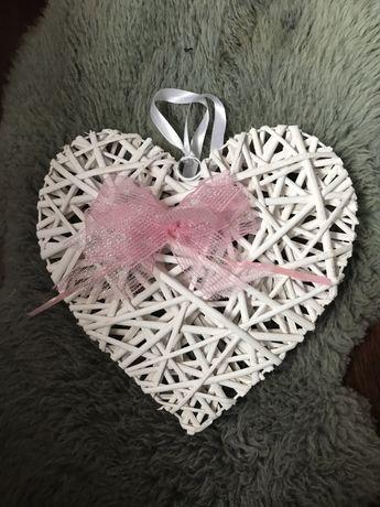 Serce z wikliny serca ślub kokardka