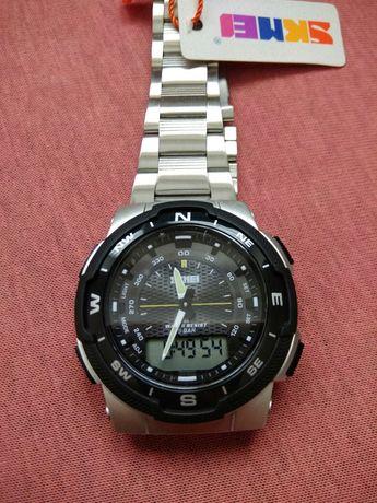Zegarek męski Skmei srebrny dwa czasy