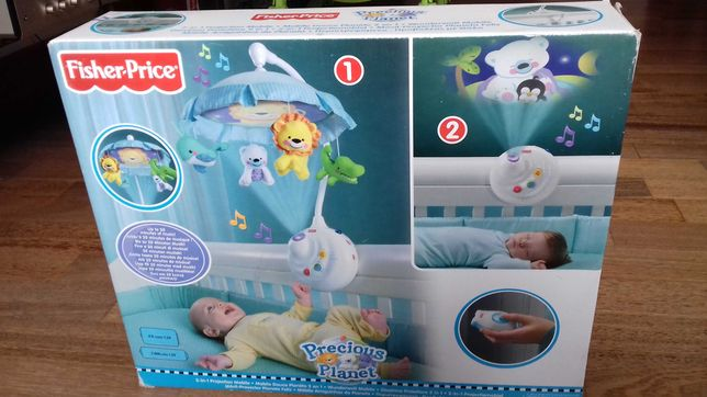Fisher-Price 2 w 1 Projection Mobile gra muzyke i wyswietla obrazy