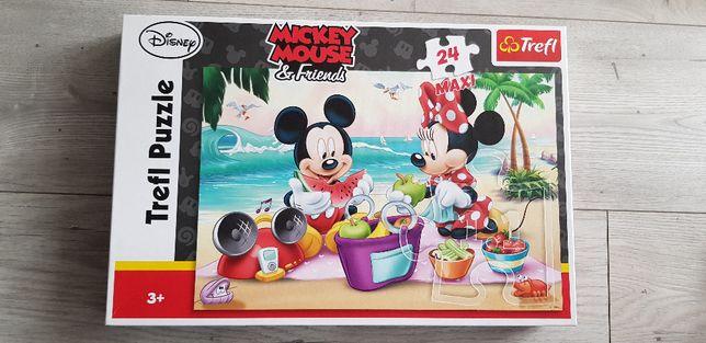 Trefl Puzzle Maxi 24 elementy - Piknik na plaży Myszka Micky
