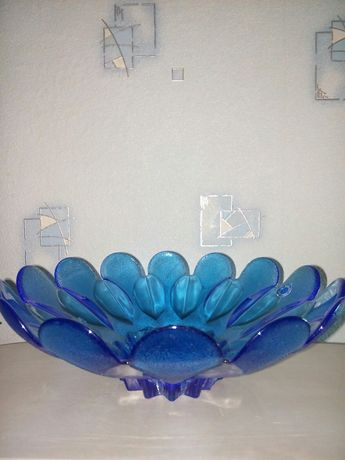 Хрустальная синяя ваза фруктовая, конфетница