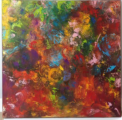 ZAPLĄTANIE 80x80 obraz olejny faktura farby KatarzynaArt