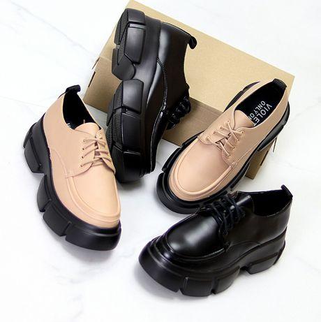 Туфли ботинки броги женские криперы черные бежевые