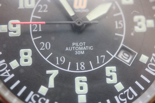 Zegarek męski styl militarny miyota pilot automatic 41mm bez koronki