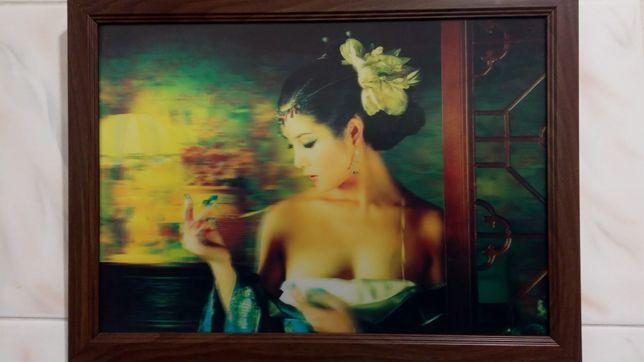 Новая чудесная 3D картина Китаянка. 38*28 см. Девушка из Китая.
