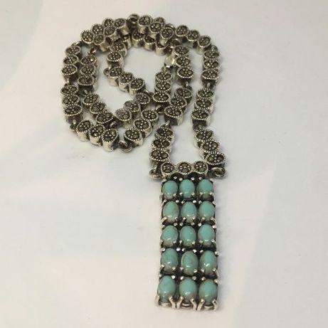 Naszyjnik srebrny, zabytkowy z turkusami i markazytami