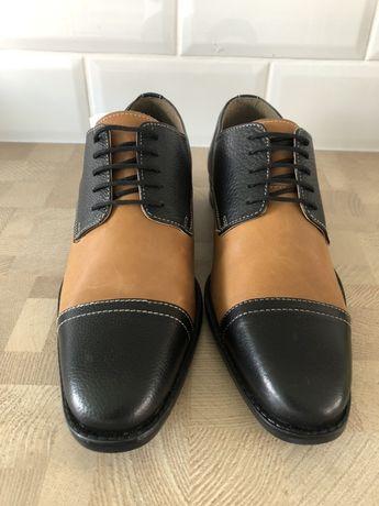 Modne skórzane męskie buty włoskie VARESE nowe roz 41