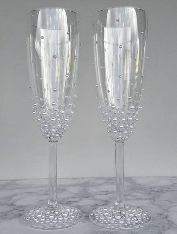 Kieliszki ślubne perły obsypane boho szampan wesele prezent