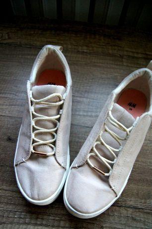 H&M modne kremowe bezowe buty adidasy trampki zamszowe 39 tenisowki