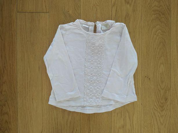 86 bluzka bluzeczka koszulka Zara pudrowy róż gipiura