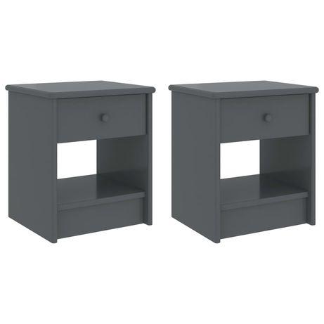 vidaXL Mesas de cabeceira 2pcs 35x30x40cm pinho maciço cinzento-escuro 322232