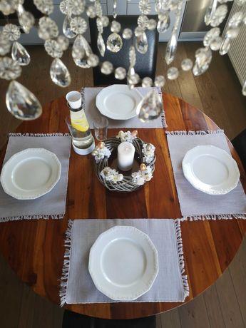 Stół okrągły 123cm z litego drewna egzotycznego, stolik kawowy gratis